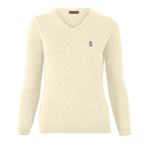 Ladies' Ecru Merino V-Neck Sweater
