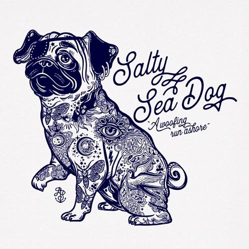 Men's Salty Sea Dog White T Shirt