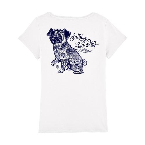 Ladies' Salty Sea Dog White T Shirt