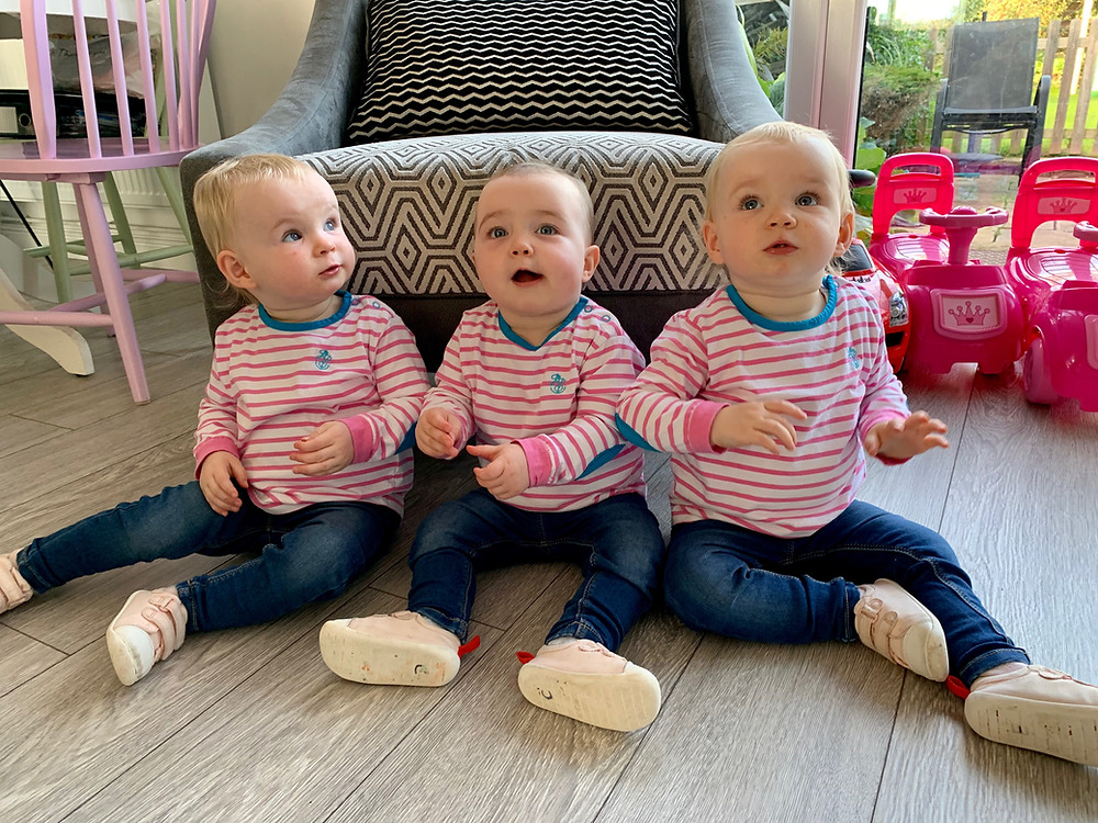 The Payne triplets Cassidy, Mallory and Ellis, wearing our kids JS long sleeved tees