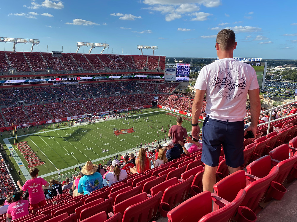 Great photo from Andy Williams in a JackSpeak tshirt at the Tampa Bay Buccaneers NFL game