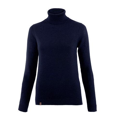 Ladies' Navy Merino Roll Neck Sweater
