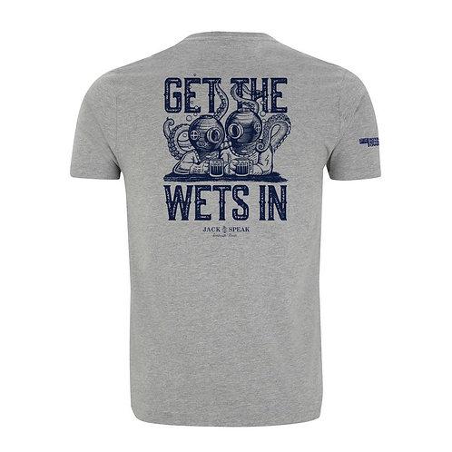 Men's Grey 'Get The Wets In' T Shirt