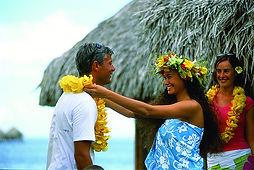 Honeymooners beingn welcomed in Tahiti