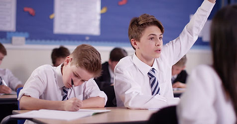 Confident student with his hand up
