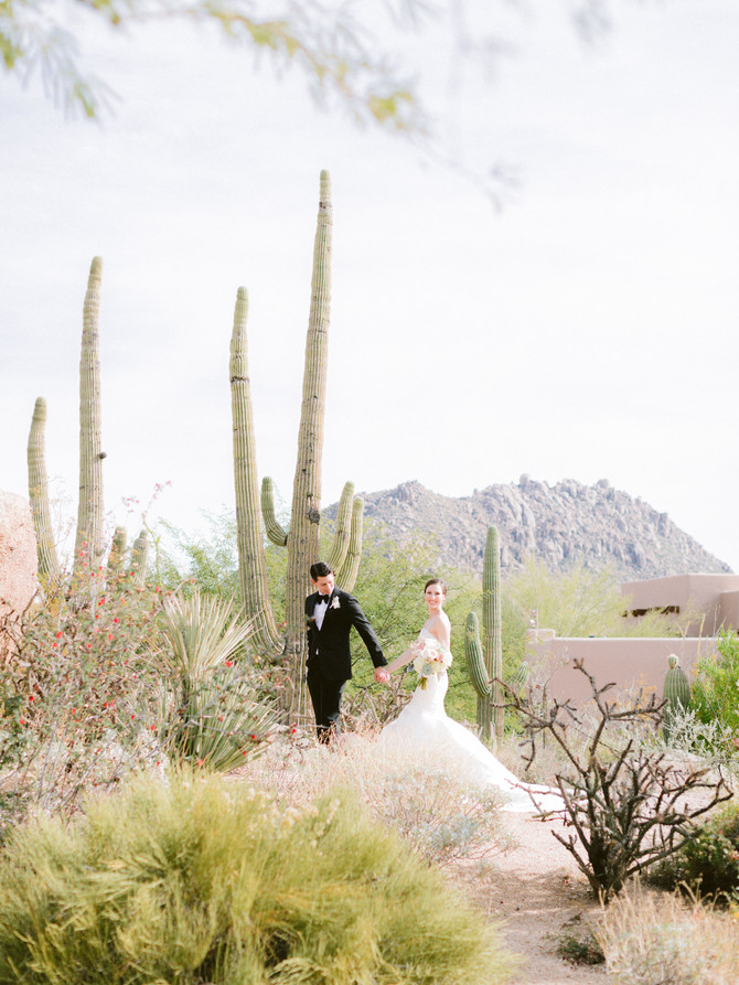 Stephanie + Ryan's Whimsical Blush Four Seasons Troon North Wedding