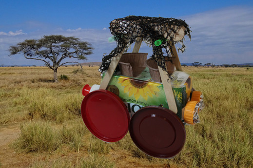 Safari Jeep example from the Recycle, Reuse, Re-Craft activity