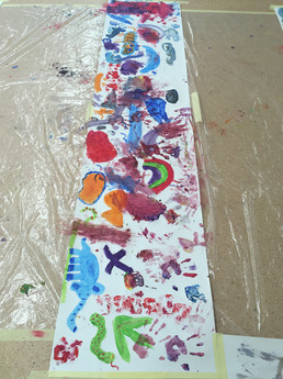 Paper filled with paint and colour explorations