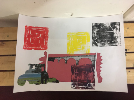A tractor collage, using printmaking and cutouts