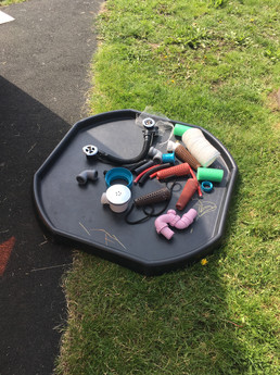 A tray of objects, for Under 5's to explore