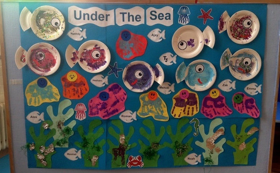 Under the Sea display in the school hall