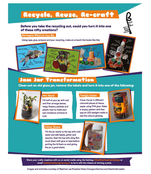 Recycle, Reuse, Re-craft and Jam Jar Transformation. Activities incuded in Issue 5 of the Healthy Holidays pull-out