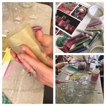 Decorating glass tea light holders using tissue paper