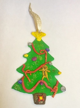 A Christmas tree made from polymer clay
