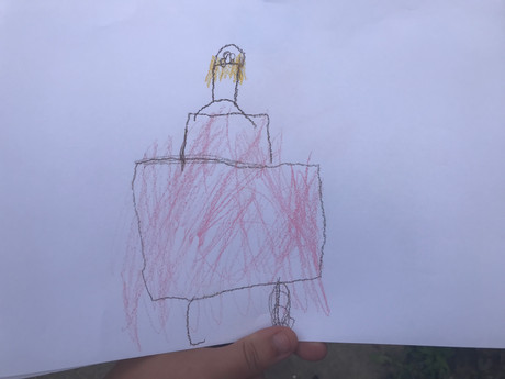 A pupil's drawing of her sculpture that was inspired by Rodin's 'The Thinker'