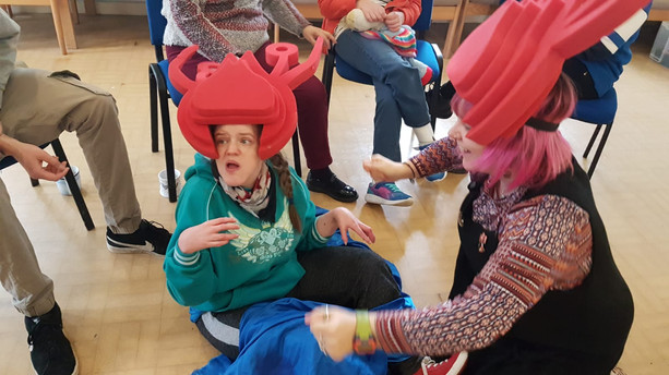 Dressing up as lobsters and doing some creative movement