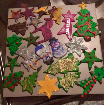 Christmas tree decorations made using polymer clay