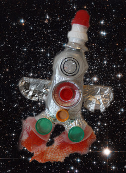 Rocket example from the Recycle, Reuse, Re-Craft activity