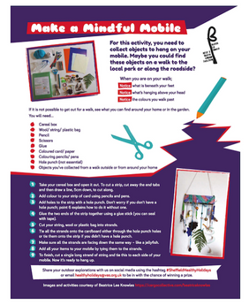 Make a Mindful Mobile. Activity incuded in Issue 3 of the Healthy Holidays pull-out