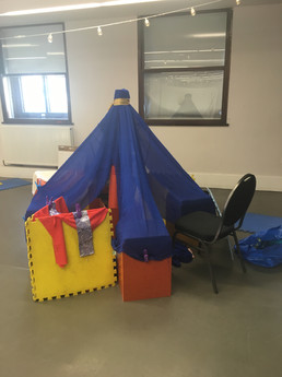 A blue tent with rooms galore