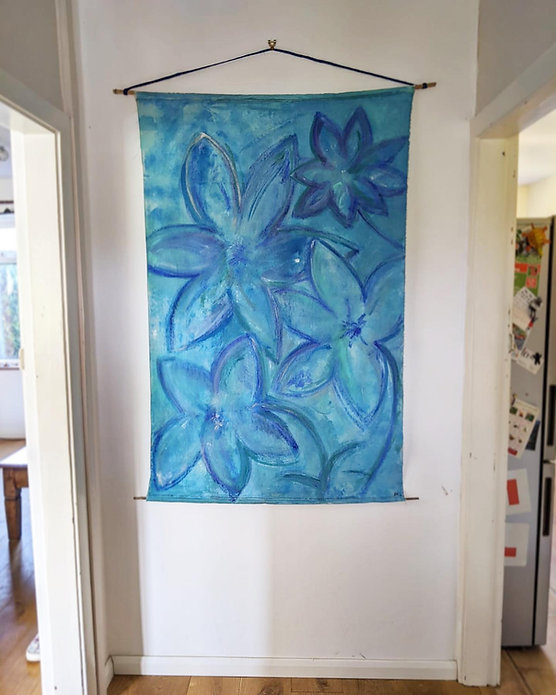Blooms Blue Flowers in Acrylic
