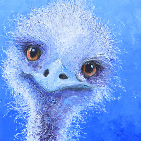 Oil painting of a quirky emu on a blue background. This original animal painting is complete with a white frame.