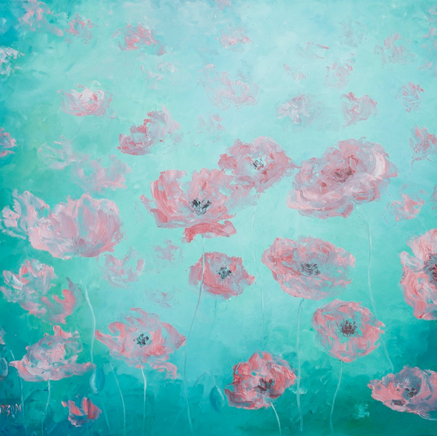 Pink poppies on soft green