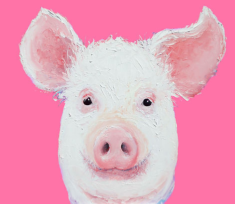 Happy Pig painting, by Jan Matson  small