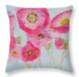 Pink Poppies Throw Pillow.png
