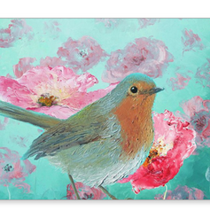 Robin in a field of poppies, greeting card.