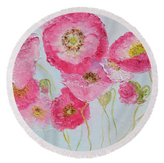 Poppies round beach towel or throw rug