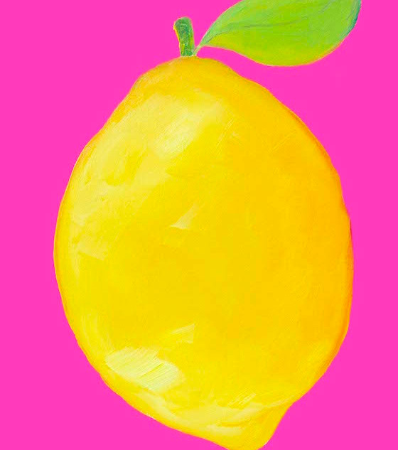 Lemon on hot pink