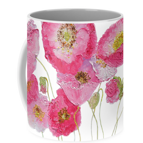 Mug with pink poppies design