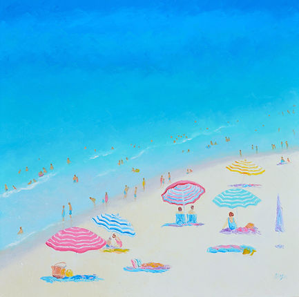 A Blue, Blue Day, beach painting by Jan