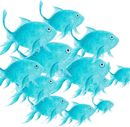 School of fish painting by jan matson co