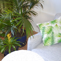 Tropical leaves and ferns throw pillow