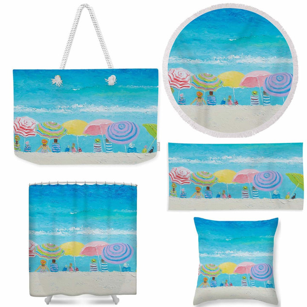 Color of Summer tote bag, round towel, beach towel, throw pillow and shower curtain.