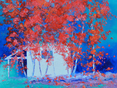 Impressionist landscape painting of red Japanese maple trees against a white cottage.
