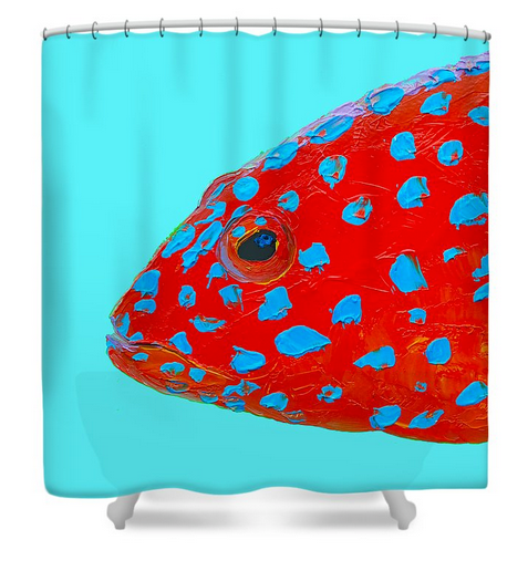 Strawberry Grouper - shower curtain