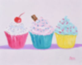 Three Frosted cupcakes painting by jan m