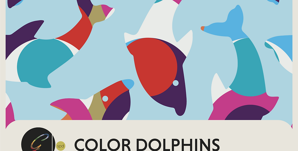DOLPHINS: BLUE + COLOR - 2 PATTERNS