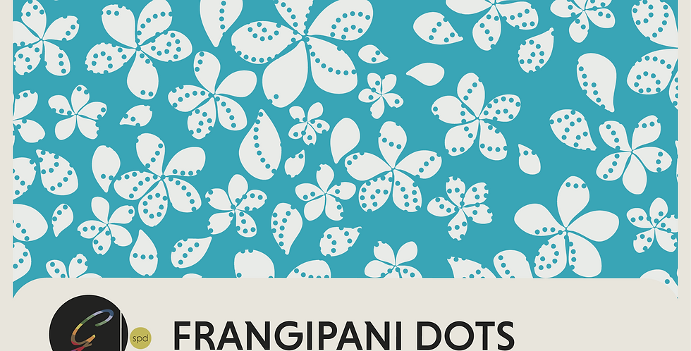 FRANGIPANI DOTS - HALF DROP REPEAT PATTERN