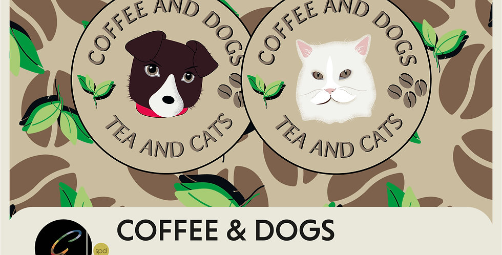 COFFEE AND DOGS TEA AND CATS - 2 SPOT GRAPHICS + 2 PATTERNS