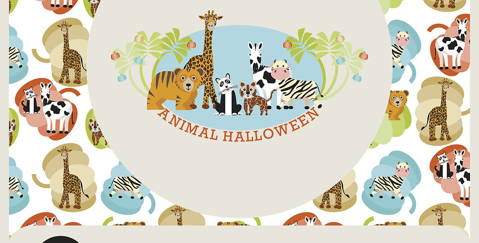 ANIMAL HALLOWEEN:  VECTOR SPOT GRAPHIC + 2 PATTERNS