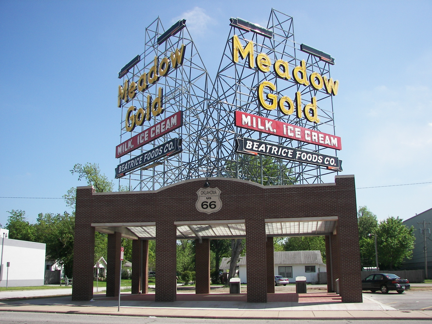 Rt 66 Meadow Gold Neon Sign