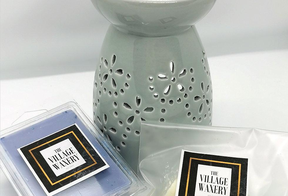 Tall Grey Wax Burner Set