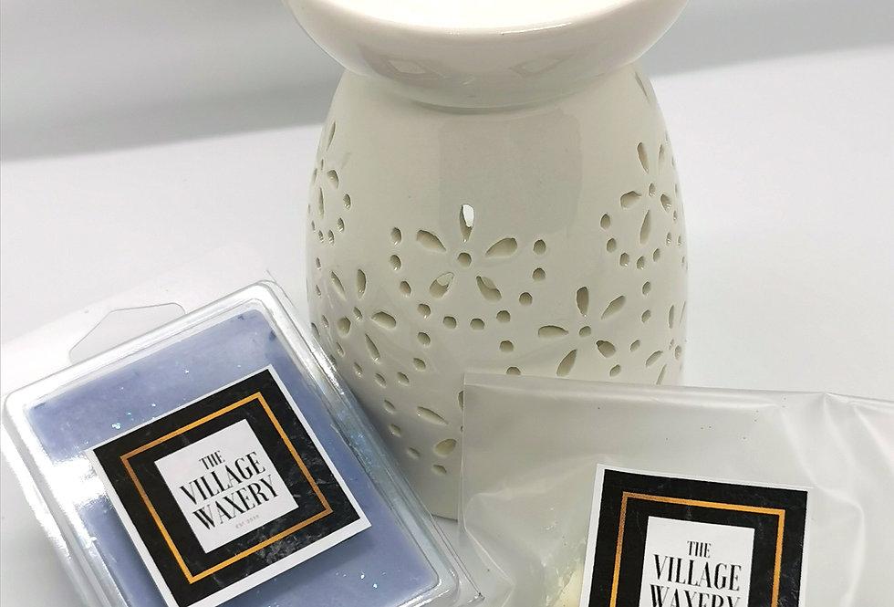 Tall White Wax Burner Set
