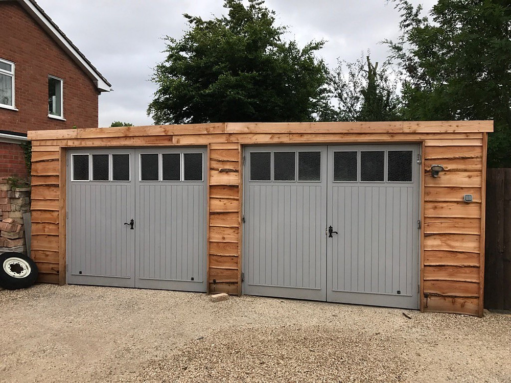 Cambridge double garage clad with larch