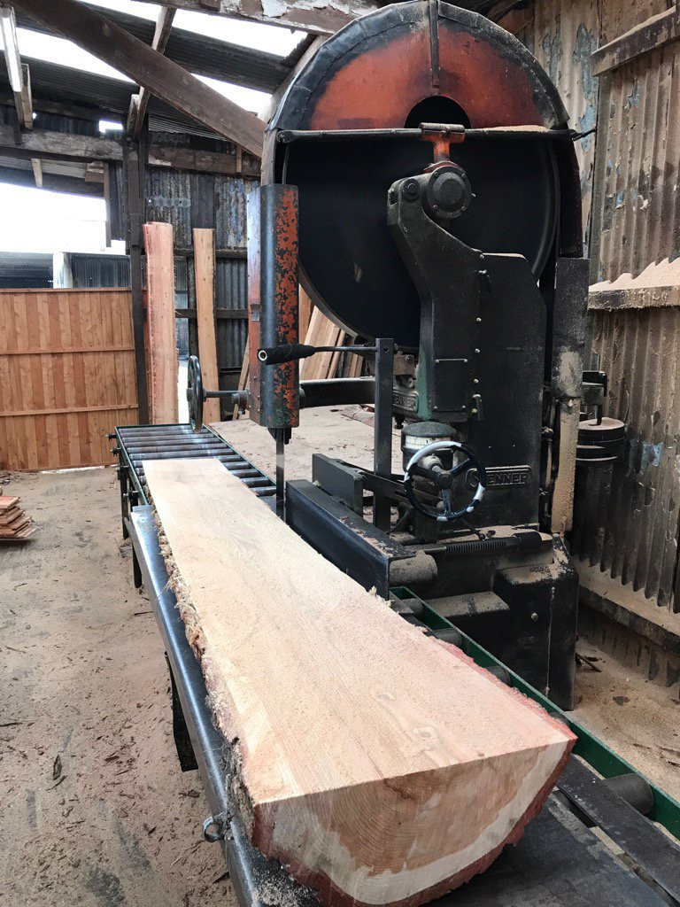 Cutting a waney-edge board from larch log