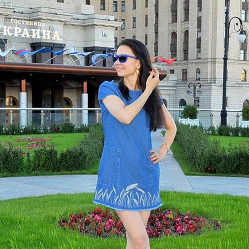 Джинсовое платье с колосьями